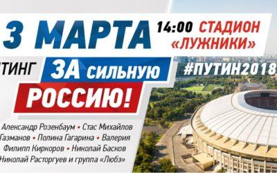 3 марта 14:00 стадион «Лужники» Митинг ЗА сильную РОССИЮ! #ПУТИН2018